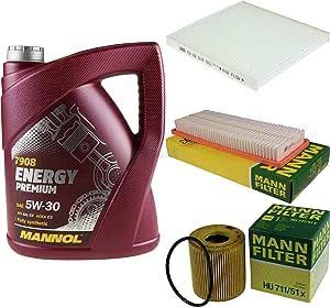 Filter Set Inspektionspaket 5 Liter Mannol Motoröl Energy Premium 5w 30 Api Sn Cf Mann Filter Luftfilter Innenraumfilter Ölfilter Auto