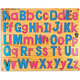 Skillofun Wooden Combined Capital and Lower Alphabet Tray, Multi Color