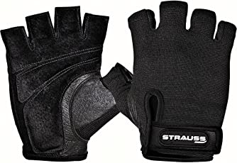 Strauss Stretch-Back Gym Gloves with Leather Palm, (Medium)
