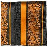 Paul Malone de carré de poche mouchoir 100% soie Orange rayé