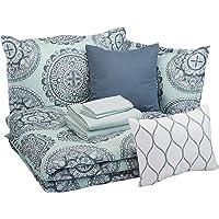 AmazonBasics Bed-in-a-Bag - Soft, Easy-Wash Microfiber - 10-Piece Full/Queen, Sea Foam Medallion