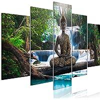decomonkey | Impression sur Toile intissée Bouddha 100x50 cm | 5 Pieces | Tableau Mural Image sur Toile Photo Images…