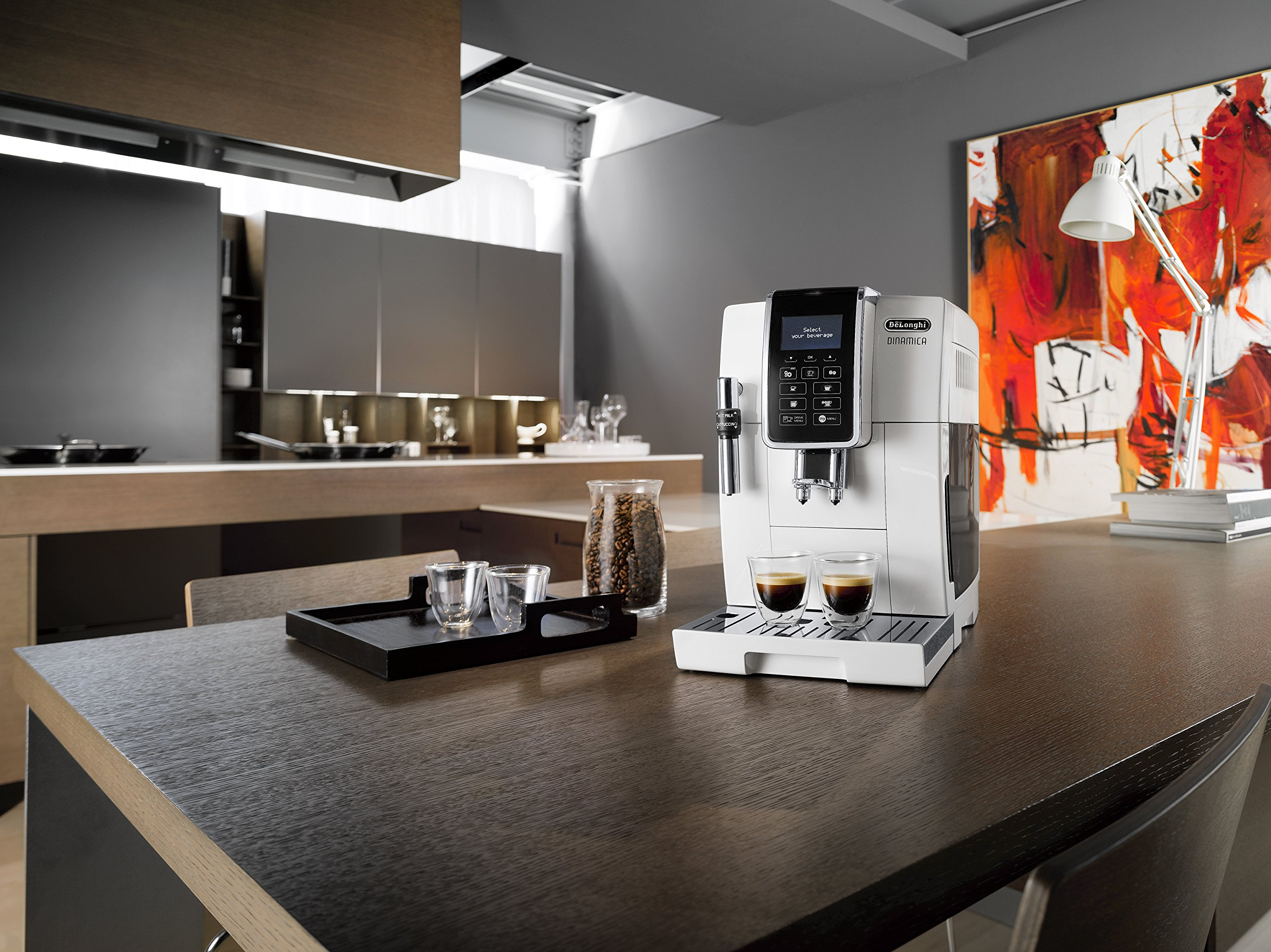 De'Longhi Dinamica, Fully Automatic Bean to Cup Coffee Machine, Cappuccino, Espresso Coffee Maker, ECAM 350.35.W, White