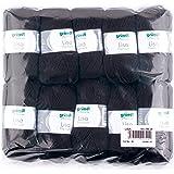 Gründl Lisa Premium Bolsa de 10 Ovillos, Acrílico, Negro, 34 x 30 x 8.5 cm