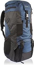 Novex Trek Climate Proof Mountain Rucksack, Hiking Bag 50 Ltrs Black & Blue With Rain Cover