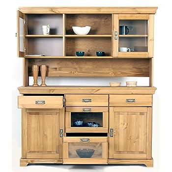 Beaux meubles pas chers buffet vaisselier blanc miel 5 portes cuisine maison - Avis beaux meubles pas cher com ...