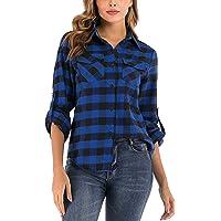 Enjoyoself Damen Karrierte Bluse Langarm Karo Flanell Hemden 100% Baumwolle Button-down Hemdbluse für Alltag und…