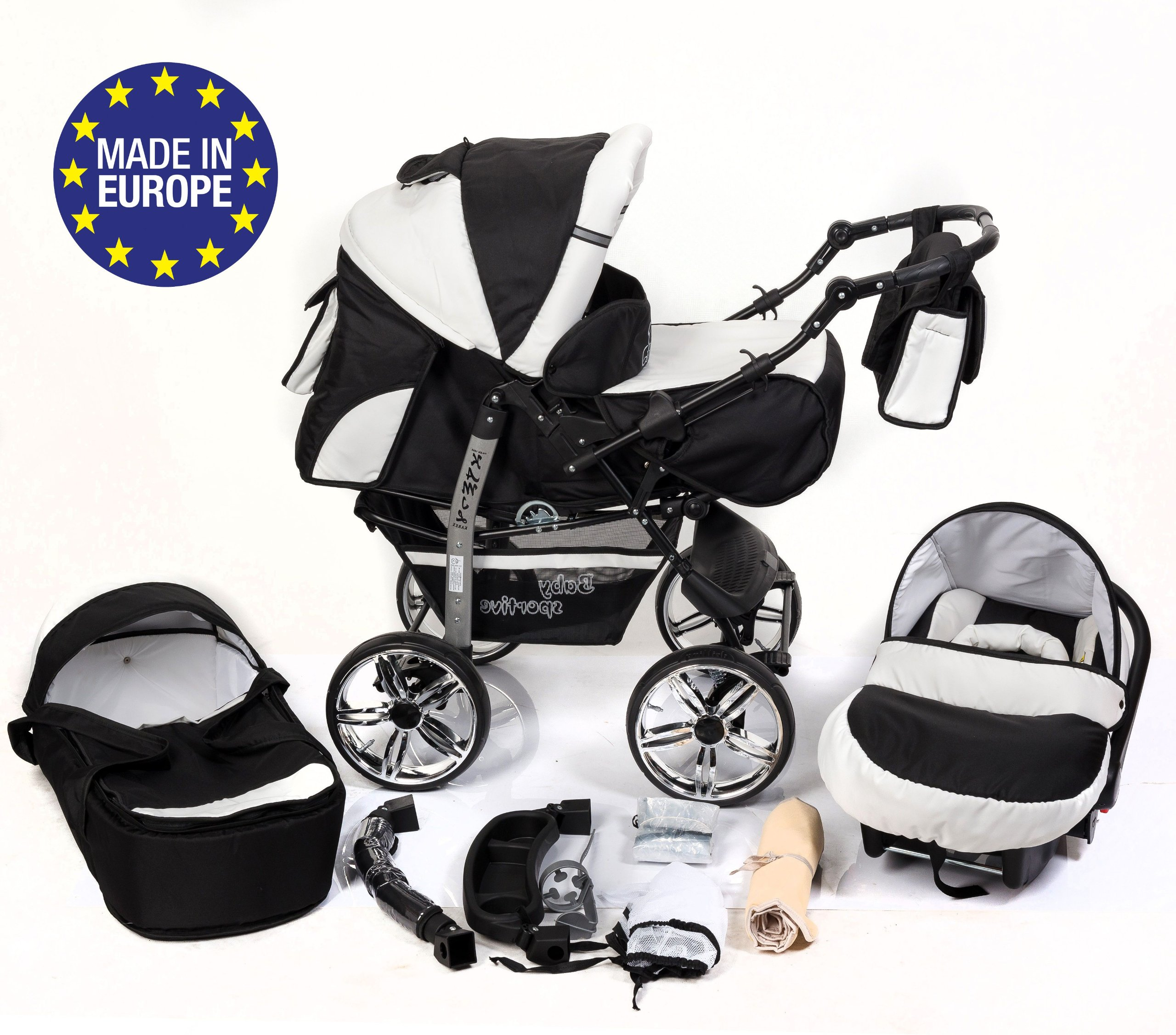 3-in-1 Travel System with Baby Pram, Car Seat, Pushchair & Accessories, Black & White   1