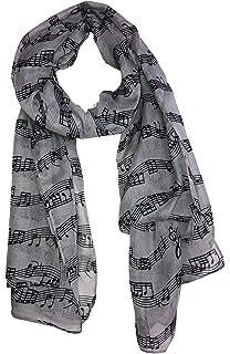 19fc231893c Pamper Yourself Now - Foulard gris avec imprimé notes de musique. Joli foulard  chaud hiver