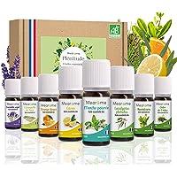Coffret 8 x 10 ml Huiles essentielles BIO + guide d'aromathérapie - HEBBD - HECT - Kit pour cuisine, diffuseur - Bienfaits respiratoires, encombrements, digestion - Mearome - Fabrication Française