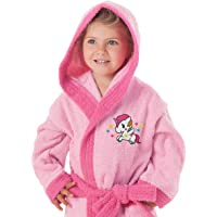 Secaneta - Accappatoio da Bambina con Cappuccio e Tasche, 100% Cotone, Motivo: Unicorno, dai 2 ai 4 Anni, Multicolore