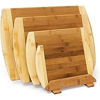 Relaxdays Lot de 4 Planches à découper en bois de bambou de différentes tailles bicolores avec support planche petit-déjeuner Plateau de service, nature