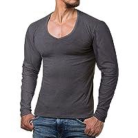 ReRock - Maglia a Manica Lunga con Scollo a V per Uomo - 9 Colori vestibilità Slim Fit in Tinta Unita - Taglia dalla S…