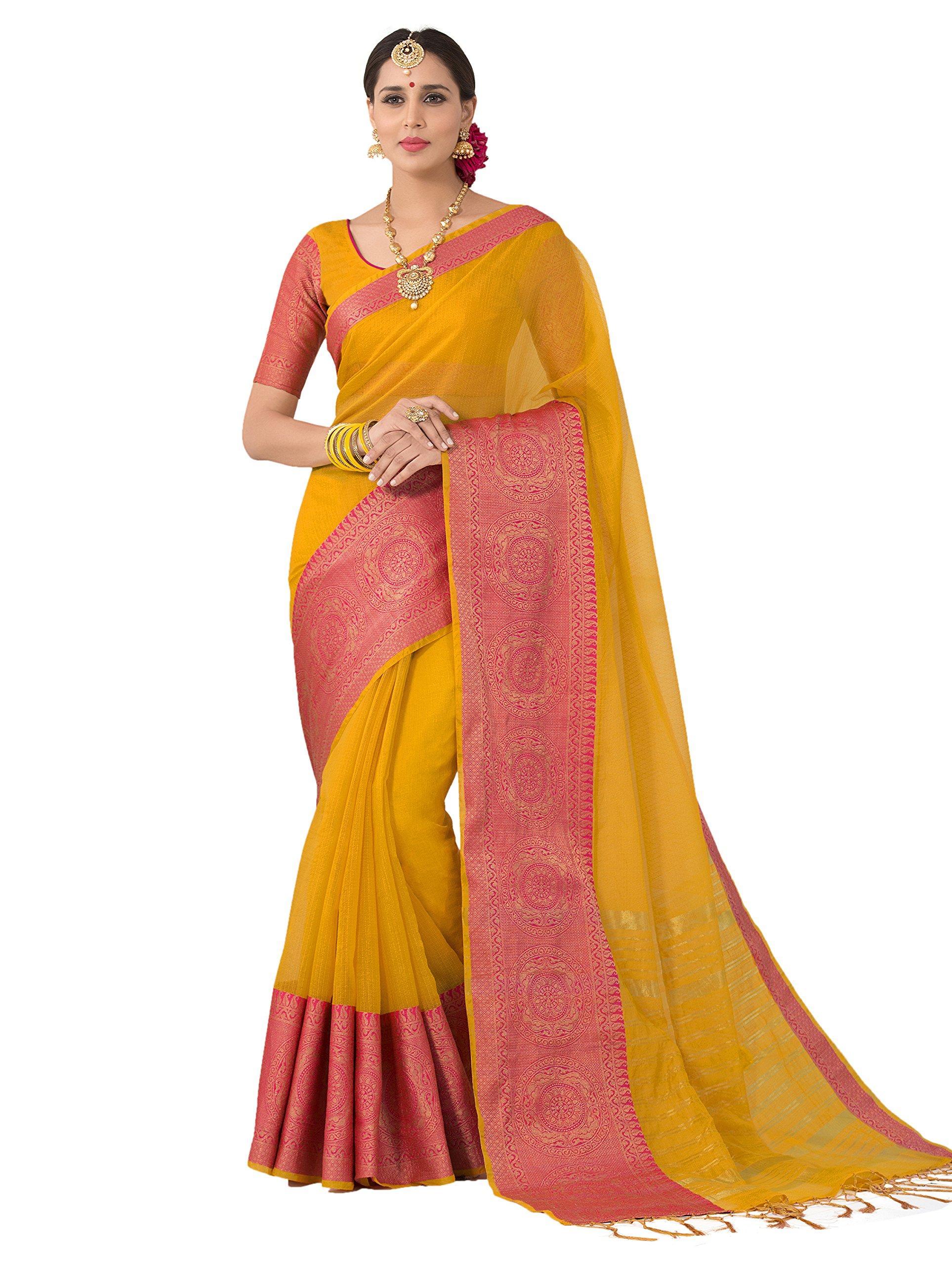 cb56a8eb8bed4 PISARA Women s Banarasi Cotton Silk Saree with Blouse Piece