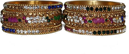 RV Designs Luxury Gold Plated Multi Color Crystal Bangles for Kids Girls