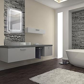 KROLLMANN Badspiegel mit LED-Beleuchtung 50x70cm, Badezimmer Spiegel ...