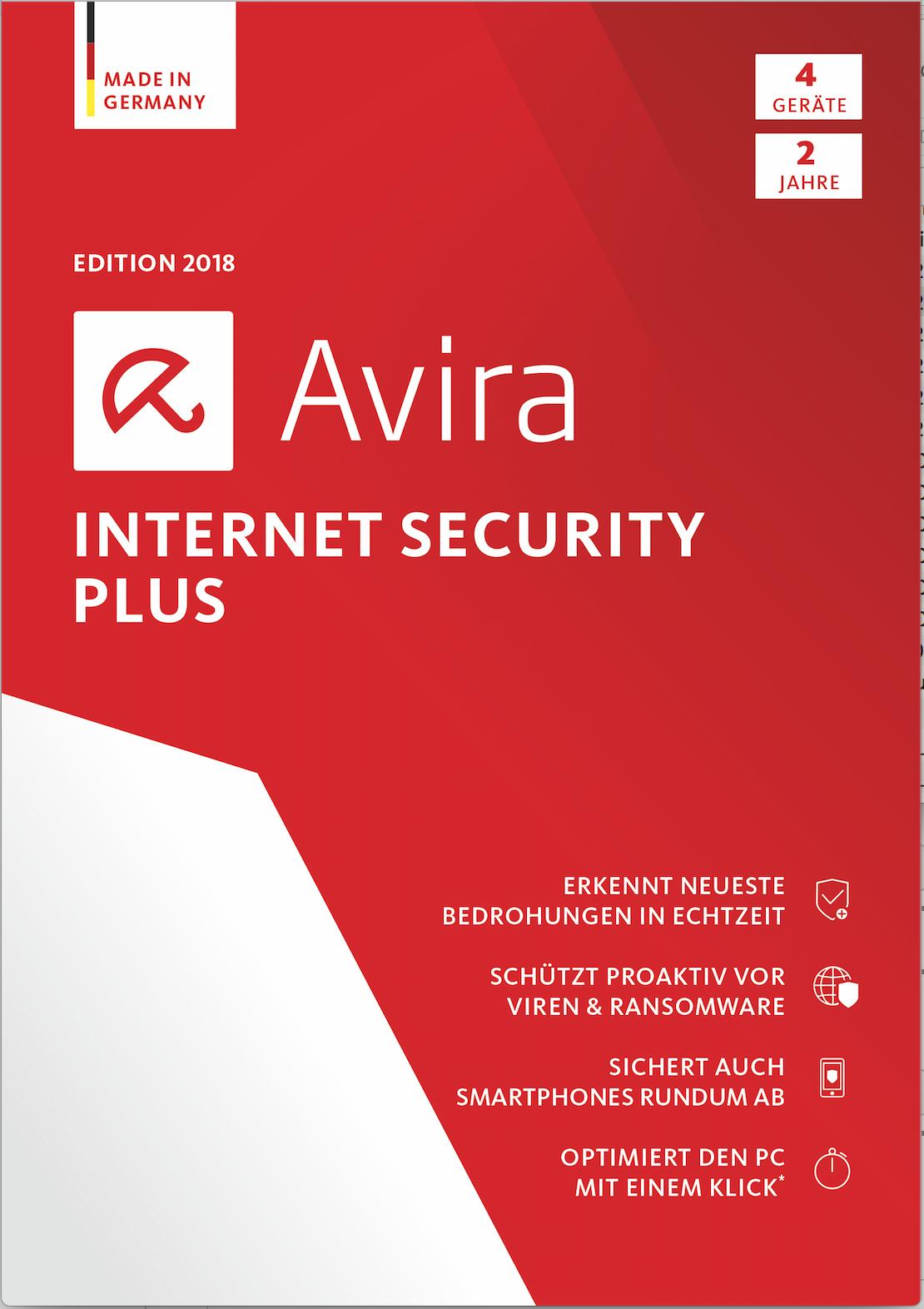 Avira Internet Security Plus Edition 2018 / Sicheres Virenschutzprogramm inkl. Avira System Speedup (2-Jahres-Abonnement) für 4 Geräte / Download für Windows (7, 8, 8.1, 10), Mac & Android [Online Code]