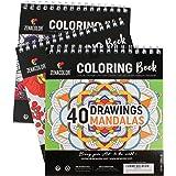 Lot de 3 Livres de Coloriage : Animaux, Mandalas, Fleurs - Livre de Coloriage Adulte ou Ado à Spirales pour Loisirs Créatifs