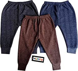 Littly Baby Thermal Leggings/Pajamis, Pack of 3(Blue, Brown, Grey)