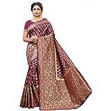 peacock fashion Women's Jacquard Art Silk Saree With Unstitched Blouse Piece (mnrk_s025_r-purple_Purple)