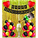 PROP BOX™ HAPPY ANNIVERSARY DECORATION ITEMS COMBO GOLD FOIL CURTAINS, 30 METALLIC BALLOONS , ANNIVERSARY BANNER BLACK , 2 RE