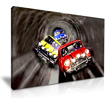 Yes Art The Italian Job Movie Classic Cooper Cars Canvas Wall Art