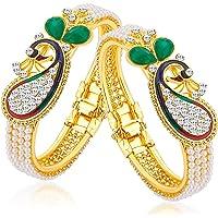 Sukkhi Glittery Pearl Gold Plated Wedding Jewellery Peacock Meenakari Austrian Diamond Kada Combo For Women…
