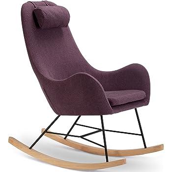 Designer Schaukel-Stuhl aus Stoff mit Armlehnen lila