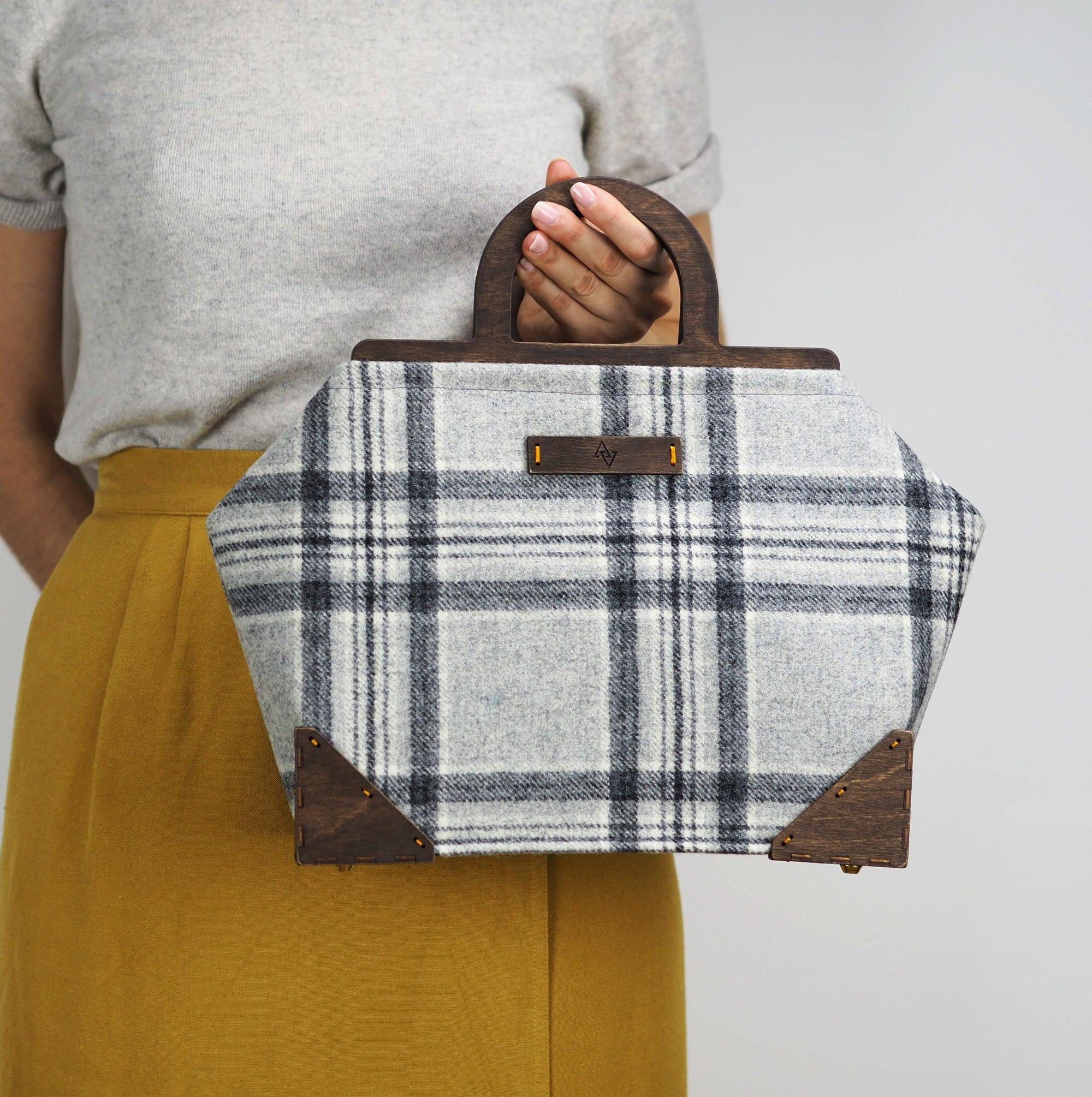 Framed Handbag in Aspen Wool Plaid - handmade-bags