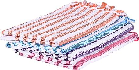JISB Multicolor 100% Pure Soft Cotton Bath Towels - Pack of 4
