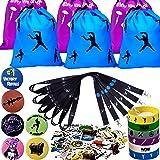 Gaming Party Supplies Set - 96 Pack Video Game Birthday Party favors set, Reusable Drawstring Gift Bags, Gaming Lanyards, Pin