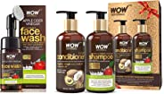 WOW Organic Apple Cider Vinegar Foaming Face Wash with Built-In Brush - No Parabens, Sulphate and Si & WOW Apple Cider Vinegar Shampoo - WOWsome Twosome No Parabens & Sulphates Hair Care Package–600ml