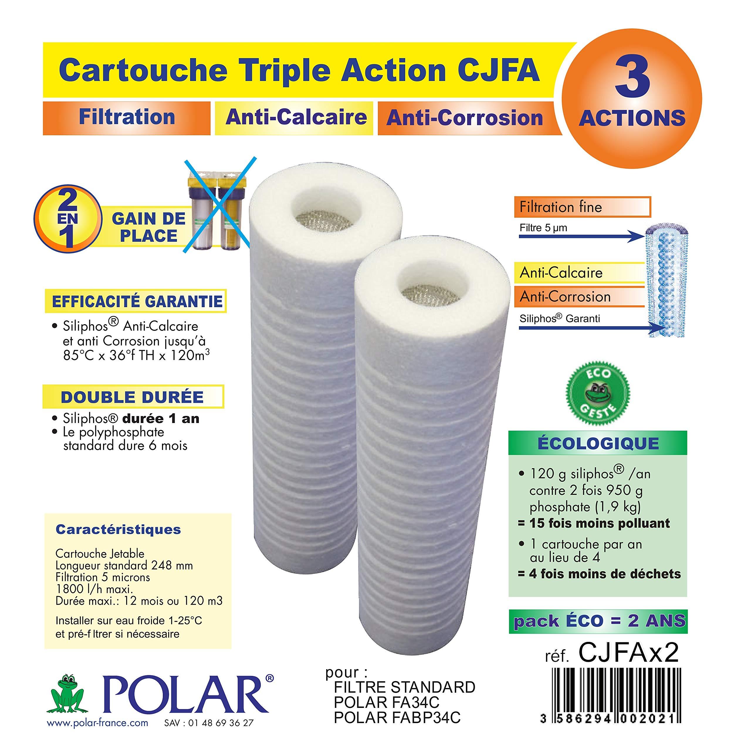 Polar – Cartouche antitartre/Corrosion pour filtre FA34C, Pack de 2 – CJFAX2