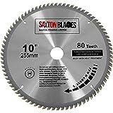Saxton TCT® - Hoja de sierra circular de madera de 255 mm x 80T para sierras de evolución – incluye anillo de reducción de 25