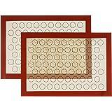 XingJie Lot de 2 tapis de cuisson en silicone sans BPA (29,5 x 42 cm) Macarons antiadhésif Tapis de cuisson durable réutilisa