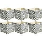 Amazon Basics Lot de 6 cubes de rangement pliables en tissu avec œillets ovales Chevrons gris