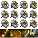 WOWDSGN - 8 LED Luz Solar Jardin, Luces Solar de Tierra, IP65 Impermeable, Blanco Cálido, Luz Solar Exterior para Camino y Ja