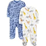 Simple Joys by Carter's Unisex Baby Footed Fleece Zipped Long Sleeve Sleepsuit, Pack of 2