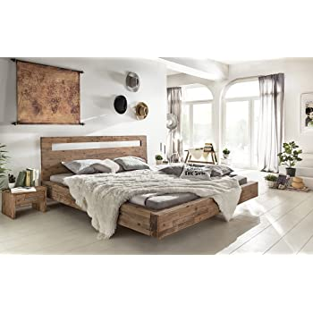 Woodkings Holz Bett 180x200 Marton Doppelbett Akazie Geburstet