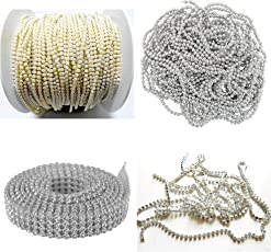 AM Rhinestones Jewellery Making Chains & Stone Lace (Silver) - Combo Set of 4 Items