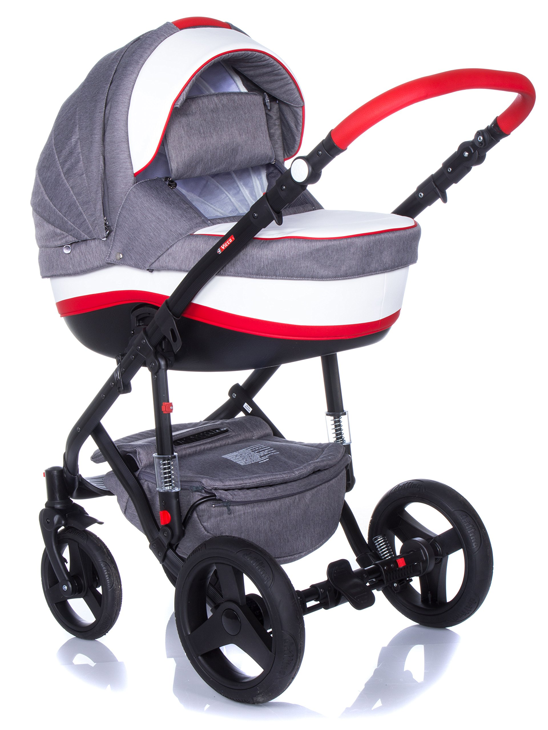 Baby Pram Pushchair Stroller Buggy Travel System Set Adamex Vicco + Baby Bag + Rain Cover + Mosquito Net + (2in1, R2 Red Graphite) Adamex Lockable swivel wheels and lockable side suspension system Light alluminium chassis with gel wheels 50% Ecco Leather and 50% Polyester shell 3