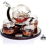 Karafka do whiskey, karafka na globus do alkoholu – najnowsza duża karafka dla mężczyzn i kobiet z drewnianą podstawą – spers