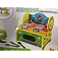 Hobnot Kid's 3D Assembled Wooden Pretend Play Cooking Kitchen Set Toy (Multicolour, HDGUY1235)