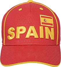 World Cup Soccer Spain Mens -Printed Structured Adjustable Hat, Burgundy, One Size