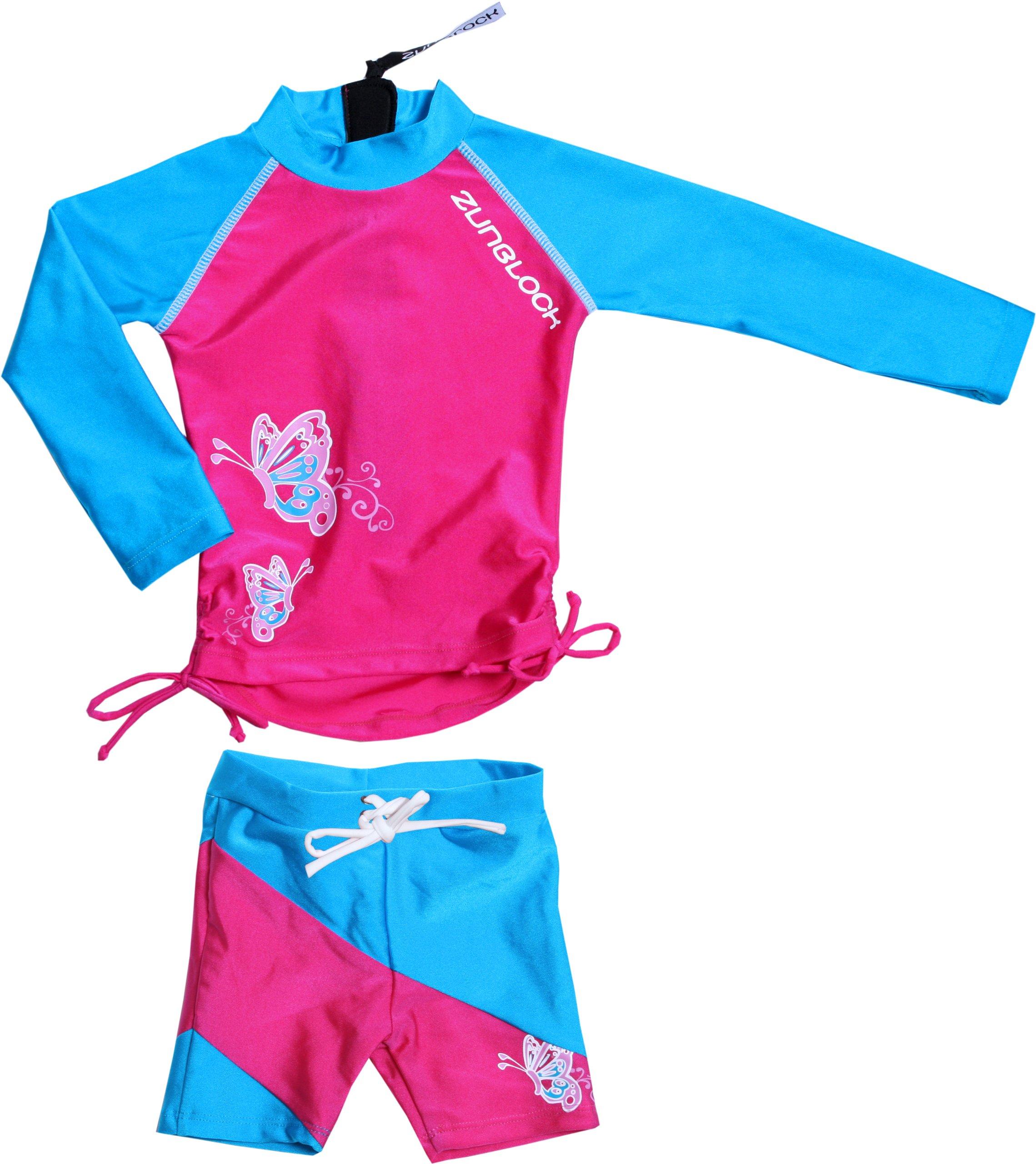 Zunblock - Suntop, Maglietta a maniche lunghe e pantaloncini con protezione solare per bambini, Ros