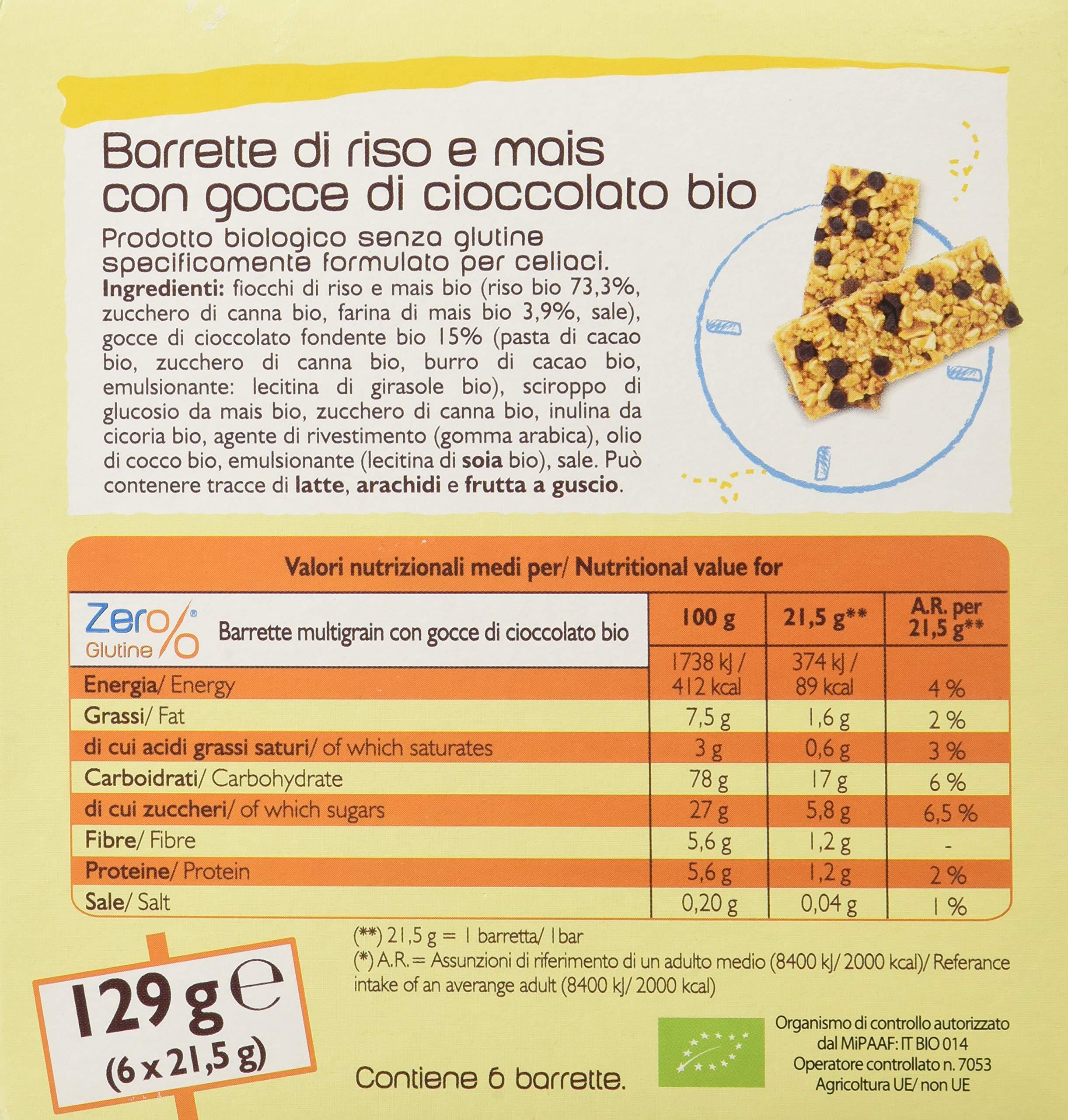 Fior Di Loto Barrette Multigrain con Gocce di Cioccolato, Senza glutine, 7 Confezioni da 130 g 4 spesavip