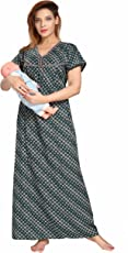 SOULEMO WOMENS FEEDING NIGHTY MATERNITY DRESS. MICRO POLY-VISCOSE FABRIC (best for rainy & winter season) with no shrinkage & no colour fading problem at all. 616