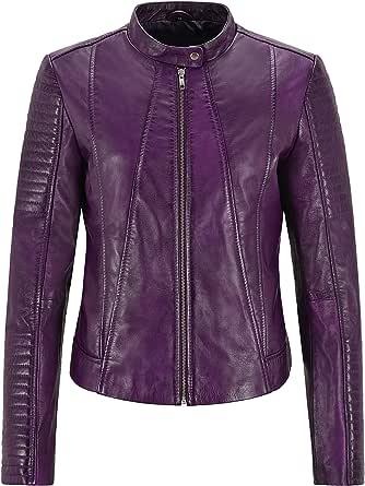 Smart Range Leather Giacca da Donna Supreme Giacca in Vera Pelle Classica Napa Viola 2411