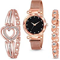MARCLEX Branded Analogue Diamond Studded Black Dial Magnet Watch with Gift Bracelet for Women or Girls and Watch for…