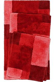 rutschfest und waschbar 55 x 65 cm, Rot kuscheliger Flauschiger weicher Flor Homie Living Badteppich Badematte San Piero